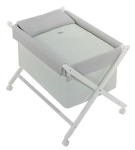 Crib In X In White Beech + Bedding + Garment + Mattress - Mod. Astrid - Green
