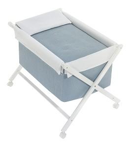 Crib In X In White Beech + Bedding + Garment + Mattress - Mod. Astrid - Petrol