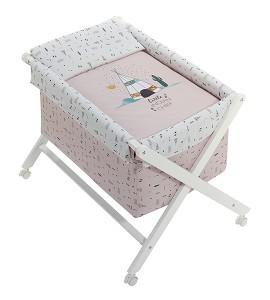 Crib In X In White Beech + Bedding + Garment + Mattress - Mod. Dakota - Pink