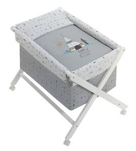 Crib In X In White Beech + Bedding + Garment + Mattress - Mod. Dakota - Gray