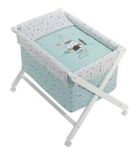 Crib In X In White Beech + Bedding + Garment + Mattress - Mod. Dakota - Green