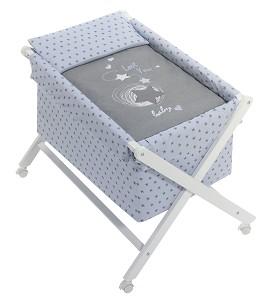 Crib In X In White Beech + Bedding + Garment + Mattress - Mod. Love You - Blue