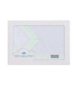 3 Pcs Bedding Cot 60X120(Sheet152X102+Fitted S.120X60X12+Case60X30)Cotton - Mod. Astrid-W/Greem