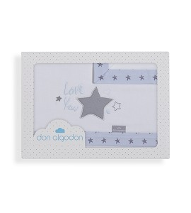 3 Pcs Bedding For Crib(Sheet106X82+Fitted S.85X55X9+Case50X30)Cotton - Mod. Love You-W/Blue