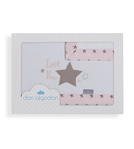 3 Pcs Bedding For Crib(Sheet106X82+Fitted S.85X55X9+Case50X30)Cotton - Mod. Love You-W/Pink
