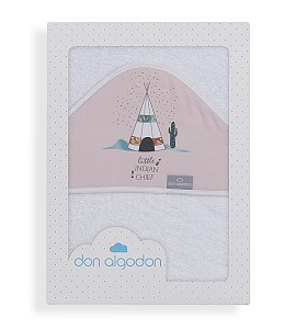 Don Algodón Capa de Baño Dakota Blanco Rosa