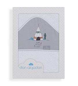 Don Algodób Bath Cape White Grey Dakota