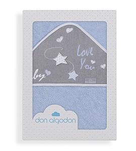 Don Algodón Bath Cape Blue Love You