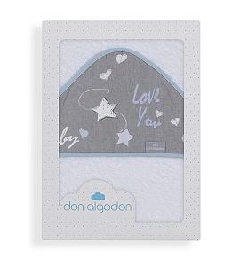 Don Algodón Capa de Baño Love You Blanco Azul