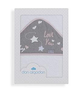 Don Algodón Bath Cape White Pink Love You