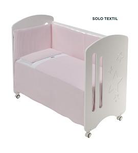 3 Pcs Set Cot Bed 60X120 (Quilt+Bumper+Pillow) - Cotton Waffel - Mod. Astrid - Pink