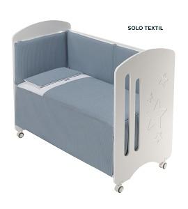 3 Pcs Set Cot Bed 60X120 (Quilt+Bumper+Pillow) - Cotton Waffel - Mod. Astrid - Petrol