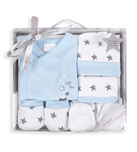 Set 5 Pieces (Shirt+Pants+Gloves+Bib+Socks) New Born (0-6 Months) - Cotton - Mod. Love You - Blue