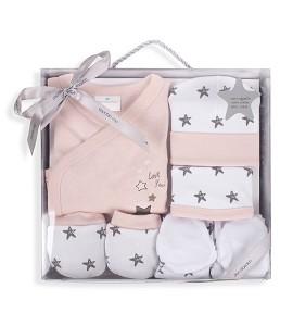 Set 5 Pieces (Shirt+Pants+Gloves+Bib+Socks) New Born (0-6 Months) - Cotton - Mod. Love You - Pink