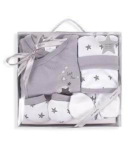Set 5 Pieces (Shirt+Pants+Gloves+Bib+Socks) New Born (0-6 Months) - Cotton - Mod. Love You - Gray