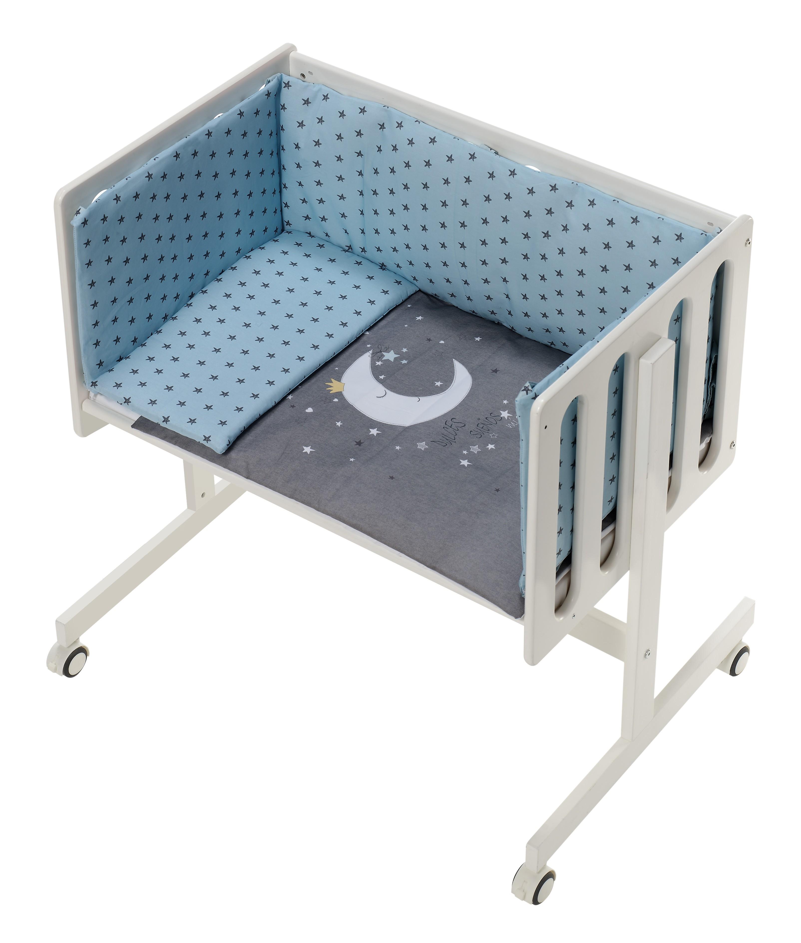 Minicuna Colecho con Textil Luna Universo Menta
