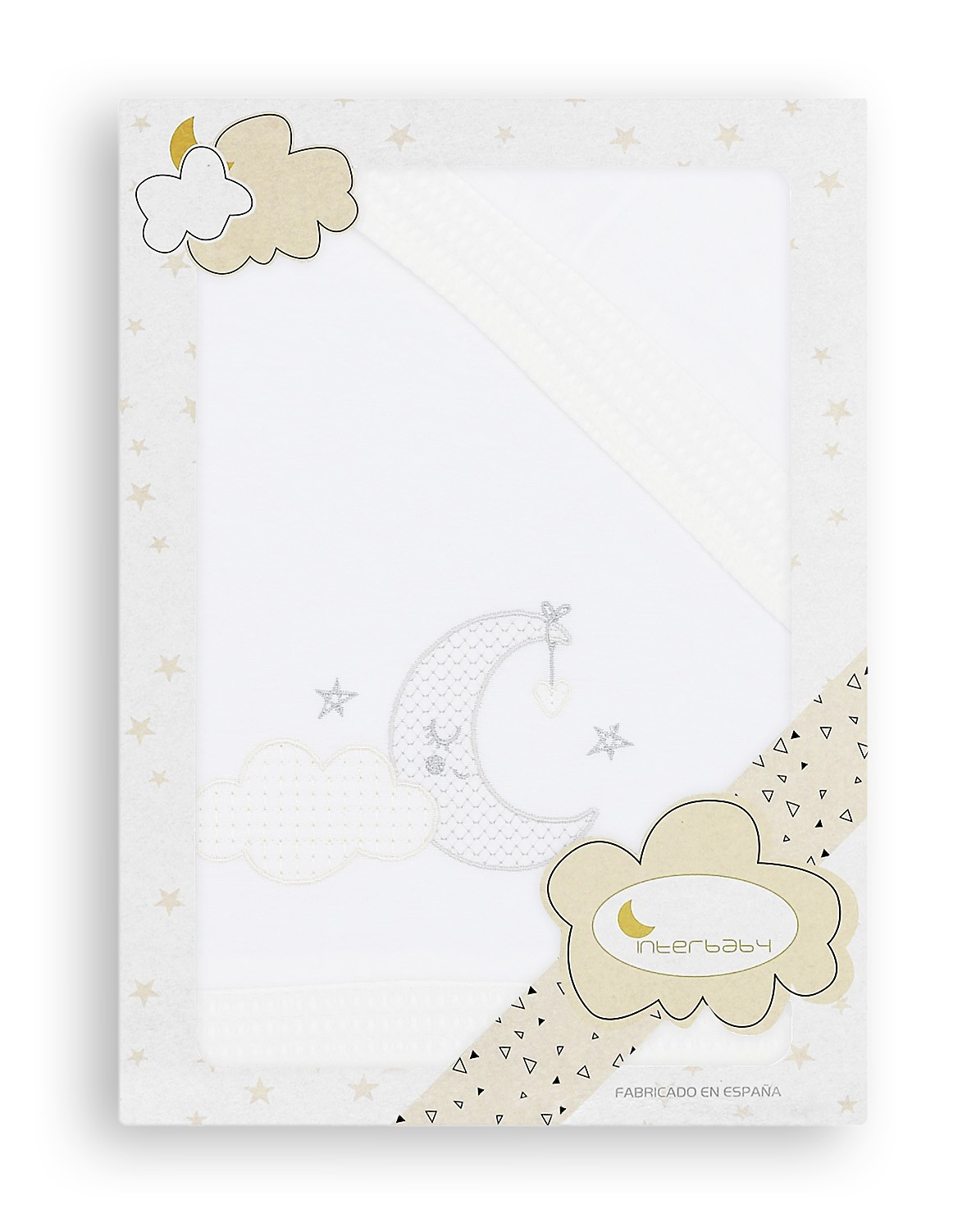 S/ábana Minicuna Franela Nube Luna Blanco Gris
