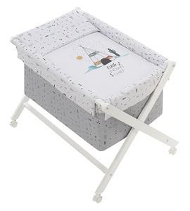 Crib In X In White Beech + Bedding + Garment + Mattress - Mod. Dakota - White