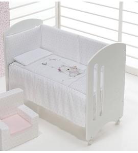 Cuna Lovely Premium con Textil Oso Columpio Rosa
