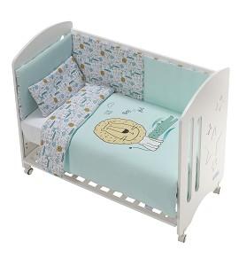 Cot New Star Premium + Set Cot Bed 60X120 (Duvet Cover+Bumper+Pillow) - Cotton -Mod. Indara - Green