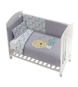 Cot New Star Premium + Set Cot Bed 60X120 (Duvet Cover+Bumper+Pillow) - Cotton - Mod. Indara - Gray