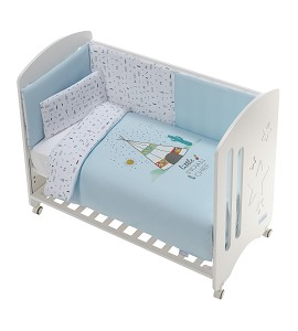 Cot New Star Premium + Set Cot Bed 60X120 (Duvet Cover+Bumper+Pillow) - Cotton - Mod. Dakota - Blue