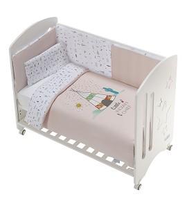 Cot New Star Premium + Set Cot Bed 60X120 (Duvet Cover+Bumper+Pillow) - Cotton - Mod. Dakota - Pink