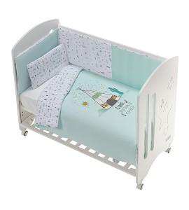 Cot New Star Premium + Set Cot Bed 60X120 (Duvet Cover+Bumper+Pillow) Cotton -Mod. Dakota - Green