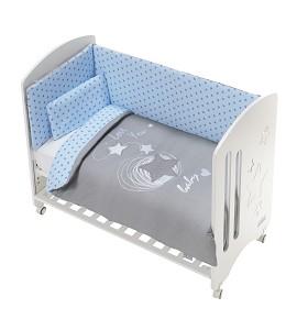 Cot New Star Premium + Set Cot Bed 60X120 (Duvet Cover+Bumper+Pillow) Cotton - Mod. Love Y - Blue
