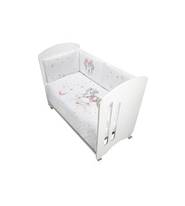 2 Pcs Set Cot Bed 60X120 (Duvet Cover+Bumper) - Cotton - Mod. Minnie - Pink
