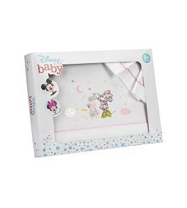 3 Pcs Bedding For Pram(Sheet106X72+Fitted S.80X40X7+Case38X25) Cotton - Mod. Minnie-W/Pink