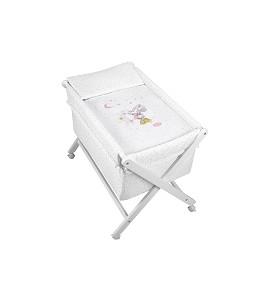 Crib In X In White Beech + Bedding + Garment + Mattress - Mod. Minnie - Pink