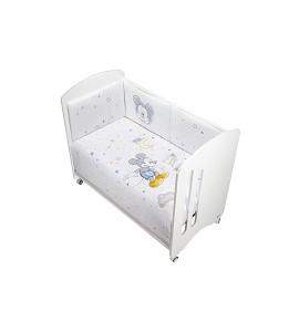 2 Pcs Set Cot Bed 60X120 (Duvet Cover+Bumper) - Cotton - Mod. Mickey - Blue