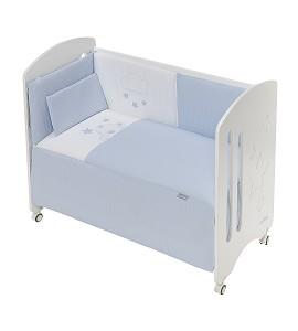 3 Pcs Set Cot Bed 60X120 (Quilt+Bumper+Pillow) - Cotton Waffel - Mod. Viggo - Blue