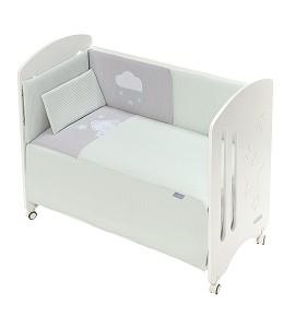 3 Pcs Set Cot Bed 60X120 (Quilt+Bumper+Pillow) - Cotton Waffel - Mod. Viggo - Green