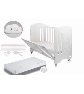 Lovely Premium Co-sleeping Cradle with mattess and white cloud night lamp gift