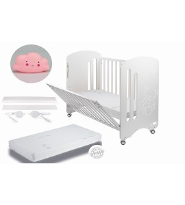 Lovely Premium Co-sleeping Cradle with mattess and cloud night pink lamp gift