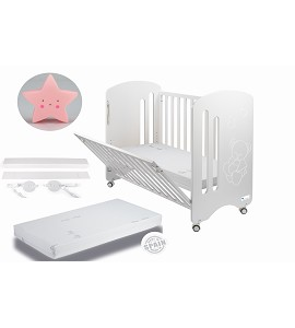 Lovely Premium Co-sleeping Cradle with mattess and pink star night lamp gift