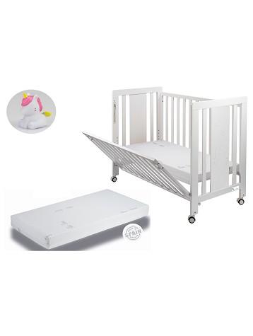 Cuna Moonet Premium con Colchón y REGALO Lámpara Unicornio Blanco