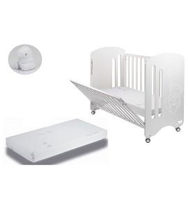 Lovely Premium Crib + Mattress + White Dinosaur Night Light