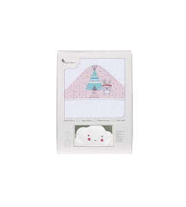 Bath Cape Tipi Bear White Pink with GIFT White Cloud Night Lamp