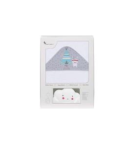 Capa de Baño Tipi Oso Blanco Gris con REGALO Lamparita Nube Blanca