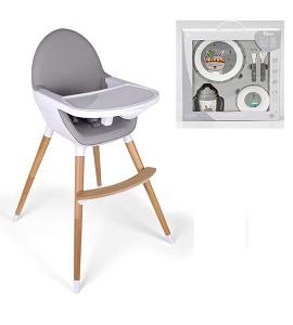 Baby Grow Highchair Light Grey + Indian Tableware