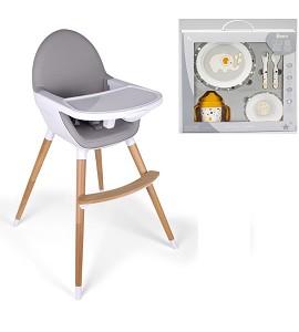 Baby Grow Highchair Light Gray + Jungle Tableware