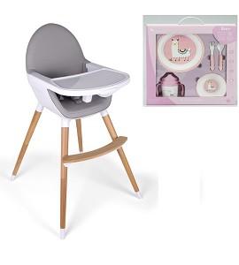 Baby Grow Highchair Light Gray + LLama Tableware
