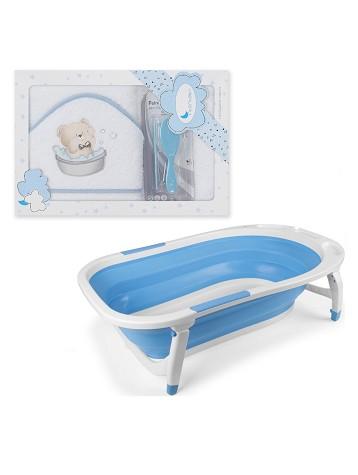 Bañera Plegable - Capa de Baño Osito Bañera con Peines Blanco y Azul
