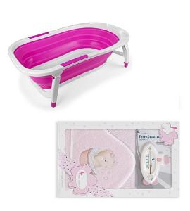 Bañera Plegable - Capa de Baño Osito Bañera con Termómetro Rosa