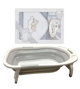 Folding Bathtub - Bath Cape Bear Cloud with Gray Termometer