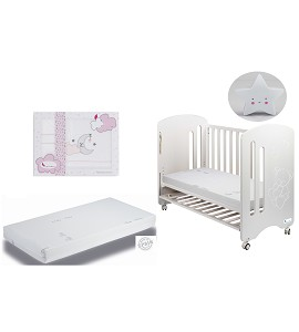 Lovely premium Cradle with Mattress, set of sheets Pink Cloud Moond and Star night lamp gift