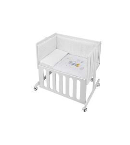 Co-Sleeping Crib Minana In White Beech + Bedding + Garment + Mattress - Mod. Mickey - Blue
